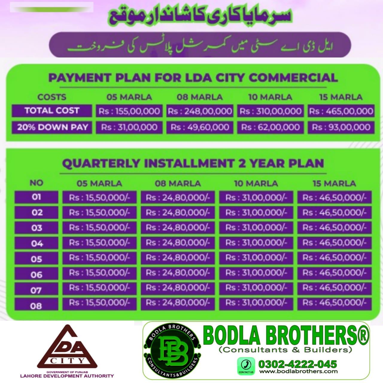 LDA City Lahore Commercial Plots Installment Payment Plan