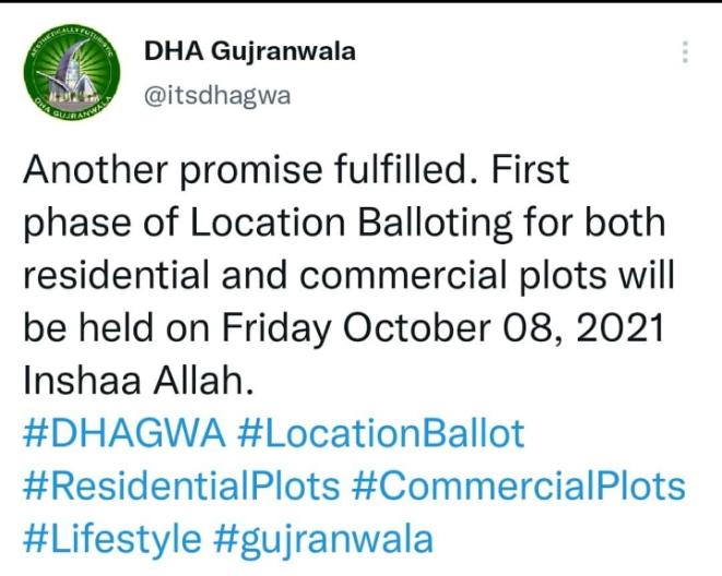 DHA Gujranwala Commercial Residential plots balloting 2021